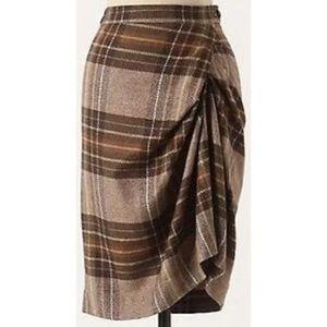 Cartonnier side pleat wool blend midi skirt SZ 6